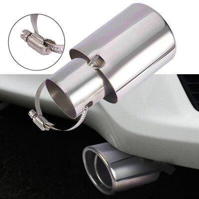 Car Silver Round Straight Stainless Steel Chrome Exhaust Tail Muffler Tip Pipe