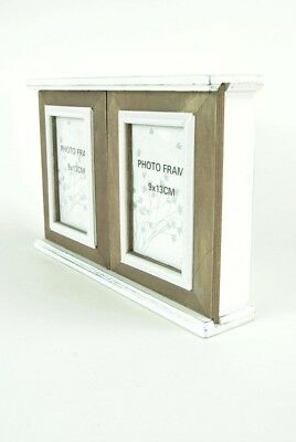 Key Hook Cupboard Photo Frames Shabby Chic Distressed White Wood With Brown Wood