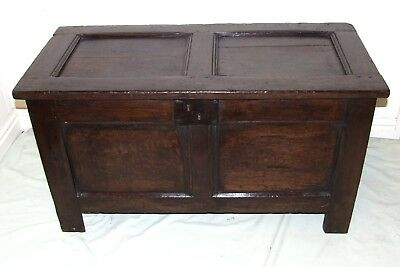 Early Antique Panelled Carved Coffer Blanket Box Chest Toy / Shoe Storage c1690