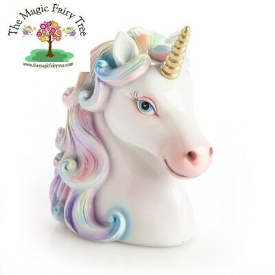 Pastel rainbow unicorn head money bank - bedroom decor