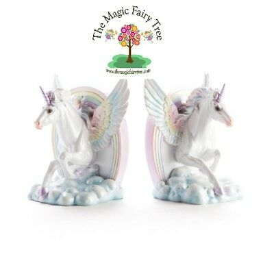 Flying pastel rainbow unicorn on cloud bookends book ends horse