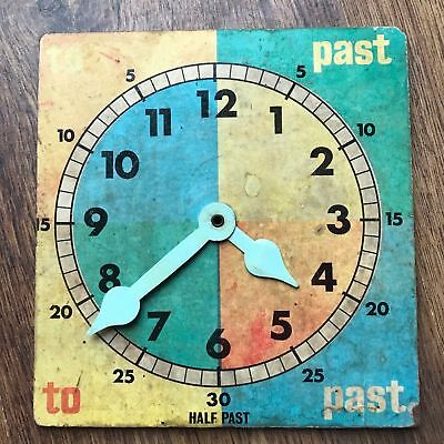 TRUE VINTAGE 'TELL THE TIME' MOVE THE HANDS WOOD-CHIP CLOCK FACE-learning aid