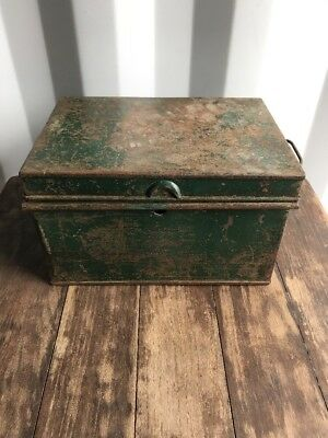 Vintage Old Antique Large Metal Cash Deed Tin Box  Shabby Chic Storage