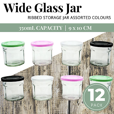 12 x Small 350ml RIBBED GLASS JARS Jar with Lid Food Storage Canister Container