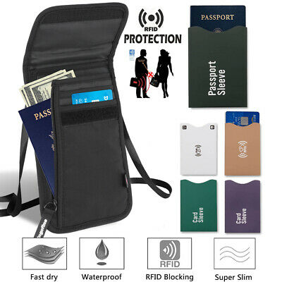 Travel Passport Wallet Bag ID Holders with Card Slots Neck Strap Zipper w/ RFID