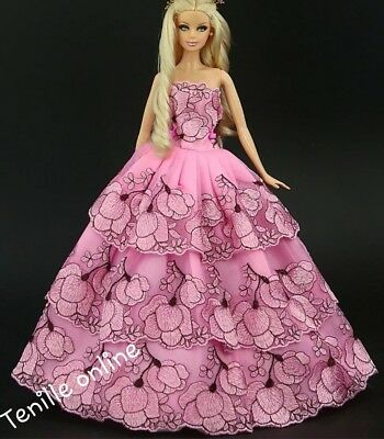 New Barbie clothes outfit princess wedding gown dress pink lace and shoes