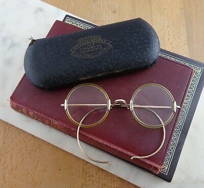 Antique Round American Optical WINDSOR Glass Spectacles, Eyeglasses Riding Arms