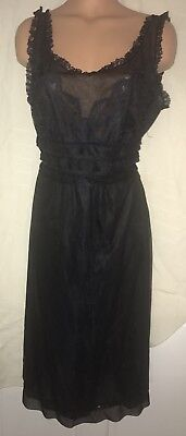 Vintage 1960s Nylon Black Chiffon Nightgown  With  Lace SZ 38 Top Form