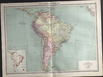 Antique Map SOUTH AMERICA GENERAL 1906 Original litho color, with population map