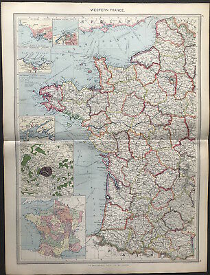 Antique Map WESTERN FRANCE c1906 Original litho color, PARIS, PROVINCES detail