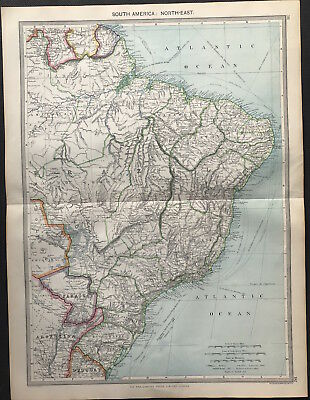 Antique Map SOUTH AMERICA NORTH-EAST 1906 Original litho color, good detail