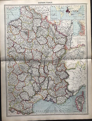 Antique Map EASTERN FRANCE 1906 Original litho color MARSEILLES & CORSICA detail