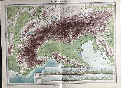 Antique Map THE ALPS, PHYSICAL, Constane to Geneva 1906 Original litho color