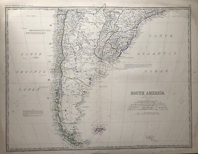 Original Antique Map SOUTH AMERICA c1869 by A K Johnston Royal Atlas, Large