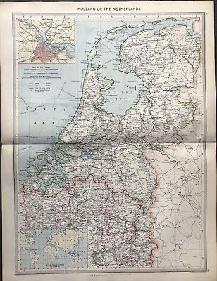 Antique Map HOLLAND - THE NETHERLANDS 1906 Original litho color Amsterdam detail