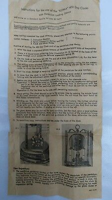 Instructions For Koma 400 Day Clock With Pendulum Locking Device Old Vintage