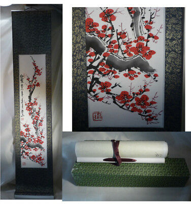 """Vintage Chinese Wall Hanging Scroll Painting Cherry Blossom Signed Boxed 44"""""""