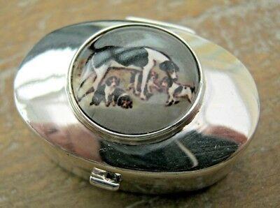 English HM Sterling Silver & Enamel Snuff Box / Vinaigrette Fox Hound & Puppies