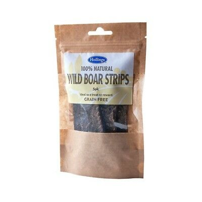 HOLLINGS WILD BOAR STRIPS Natural Grain Free Healthy Meat Sticks Dog Treats 5pc