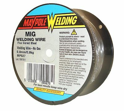 Gas less MIG Welding Wire 0.8mm 0.9kg Spool Flux Cored Steel Welders Maypole 527