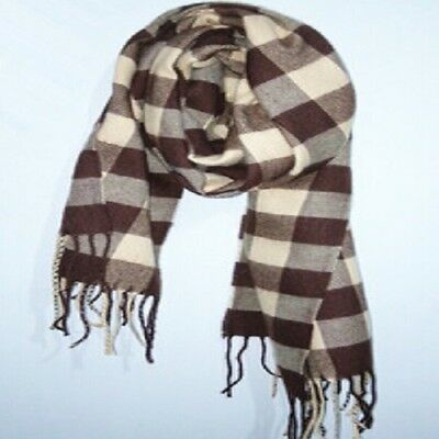 Winter Classic Grid Plaid Wool Spinning Scarf with Tassels For Unisex