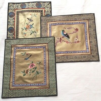 Vintage Chinese Silk Embroidery, Bird & Flowers - Your Choice!