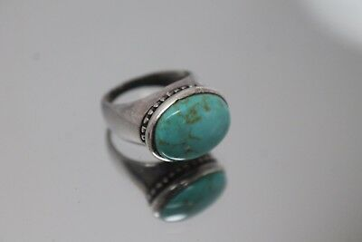 925 - Vintage Native American Sterling Silver Robins Egg Blue Turquoise Ring