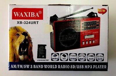AM/FM/SW 3Band World Radio SD/USB MP3 Player Led Torch Rechargeable & AA Battery