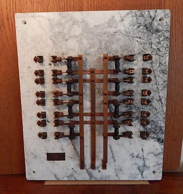 Antique Electric Railway Marble Copper Knife Switch Electrical Fuse Panel SF Ca