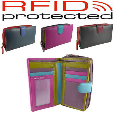Ladies RFID Multi-Coloured Leather Purse for 7 cards, notes/coins - 7 colours
