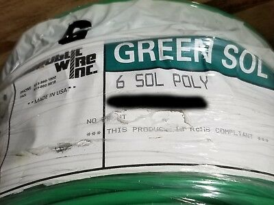 Republic #6awg Solid Copper Ground Wire Cable PE PolyEthylene Green /50ft