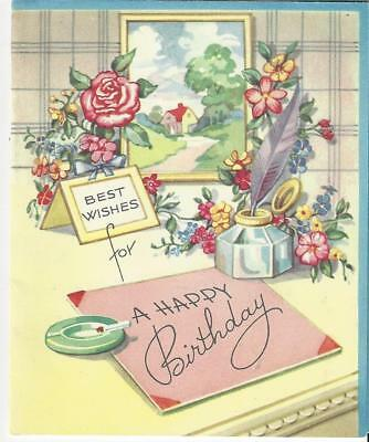 Vintage Opening Birthday Card Art Deco Flowers Quill Pen And Ink