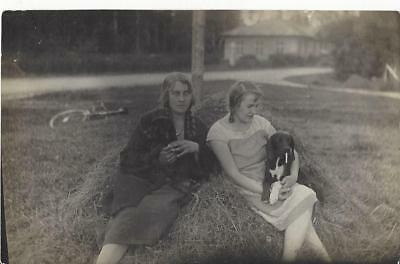 Ladies With Two Dogs - Dog With Cigarette In His Mouth Vintage Postcard