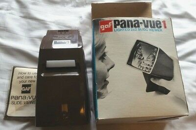 GAF Pana-Vue1 2 x 2 Lighted 35mm Film Slide Viewer Vintage
