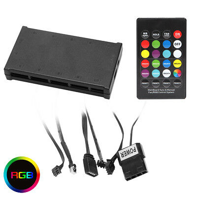 RGB PC Fan Controller With Remote Control System, Adapter takes 8 x 6-Pin Fans