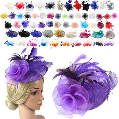 Women Fascinator Feather Flower Clip Feather Hairpin Headband Cocktail Party Hat