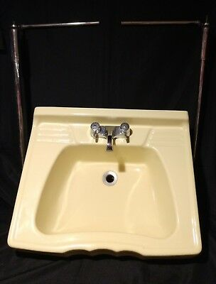 Vintage c1940 Yellow Porcelain Bathroom Sink Chrome Legs Towel Bars & Fixture