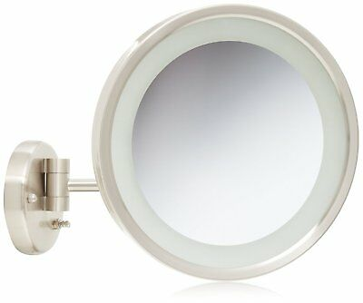 Jerdon HL1016NL 9.5-Inch LED Lighted Wall Mount Makeup Mirror Nickel Finish