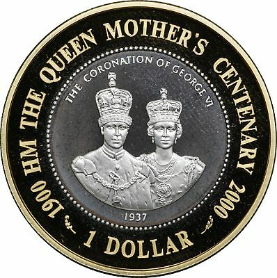 2000 Bermuda, Queen Mother Centenary, Gold Plated Silver Proof $1 Coin Only
