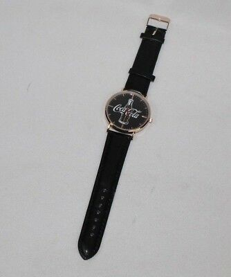 NEW Coca Cola Coke Watch Analog w/ Bottle on Face, Black Band Coca-Cola