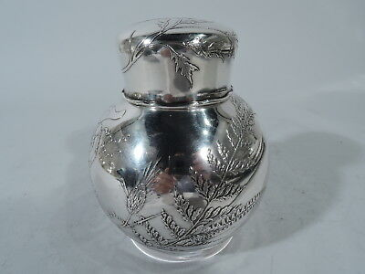 Tiffany Tea Caddy - 4824 - Antique Aesthetic Box - American Sterling Silver
