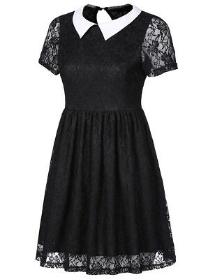50s 60s Vintage Retro Pleat Short Sleeve Cocktail Housewife Lace Up Collar Dress