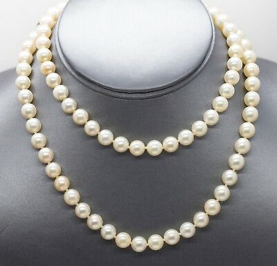 "7.5mm Vintage 30"" Akoya Pearl Infinity Necklace"