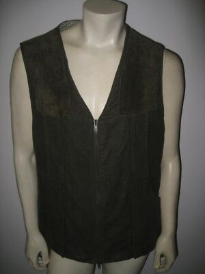 Vintage BARBOUR Cotton and Suede Double Zip Vest Made in England Size LARGE