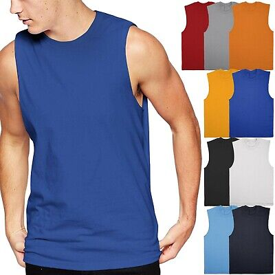 Mens Muscle Tank Top Shirts Cotton Sleeveless Gym Tee workout Casual A-Shirt