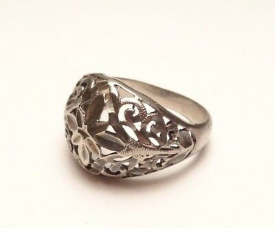 Vintage Beautiful Filigree Swirl Open Work Band Ring Sterling Silver 925 Size 9
