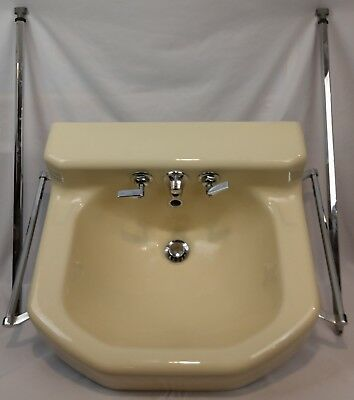 "Vintage c1953 Kohler ""Tuscan"" Porcelain Over Cast Iron Bathroom Wall Sink Chrome"