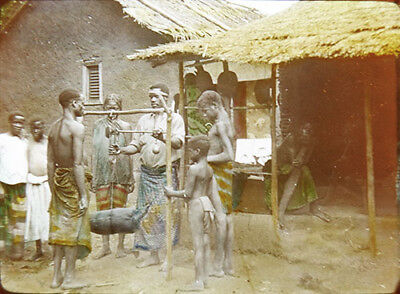 c1915 Cameroon Presby. Mission Yaounde Market Weighing Cacao Beans Lantern Slide