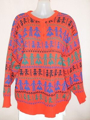1980's Vintage Crew Neck Jumper in Abstract Design.