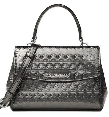 96338a51cacee New Michael Kors Ava Mini XS Crossbody Glimmering leather bag Gunmetal  holiday